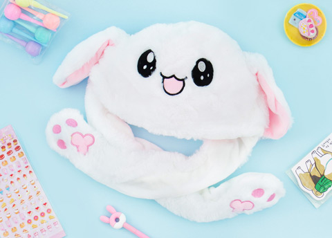 Fluffy Bunny Dancing Ears Hat
