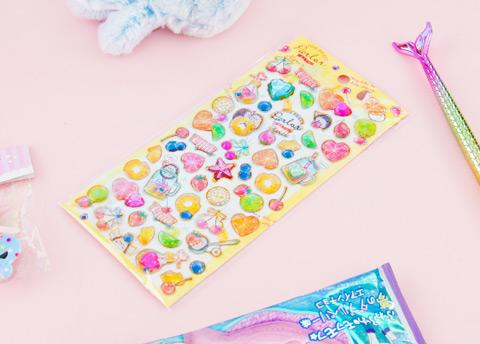 Glittery Animals & Jewels Puffy Stickers