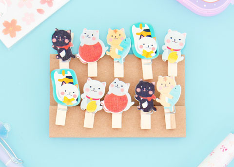 Kawaii Neko Wooden Clips