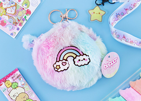 Kawaii Box Fluffy Pastel Rainbow Purse